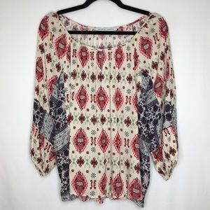 COLLECTIVE CONCEPTS boho printed blouse K14
